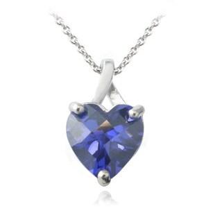 Icz Stonez Sterling Silver 5.5ct Violet Cubic Zirconia Briolette-cut Heart Pendant