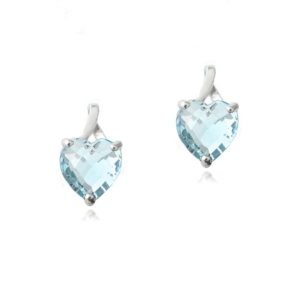 Glitzy Rocks Sterling Silver 4.5ct Blue Topaz Briolette-cut Heart Drop Earrings