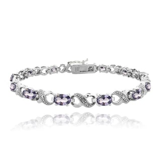 Icz Stonez Silvertone 6ct TGW Violet Cubic Zirconia and Diamond Accent Infinity Bracelet