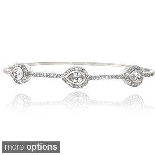 Icz Stonez Silver Tone Cubic Zirconia Three Teardrop Bangle Bracelet (2 options available)