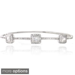 Icz Stonez Silver Tone Cubic Zirconia Three Square Bangle Bracelet