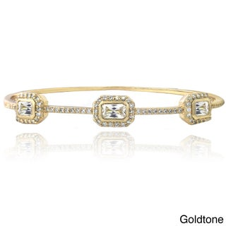 Icz Stonez Silver Tone Emerald-cut Cubic Zirconia Bangle Bracelet