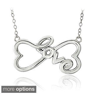 Mondevio Sterling Silver Infinity Heart 'Love' Necklace