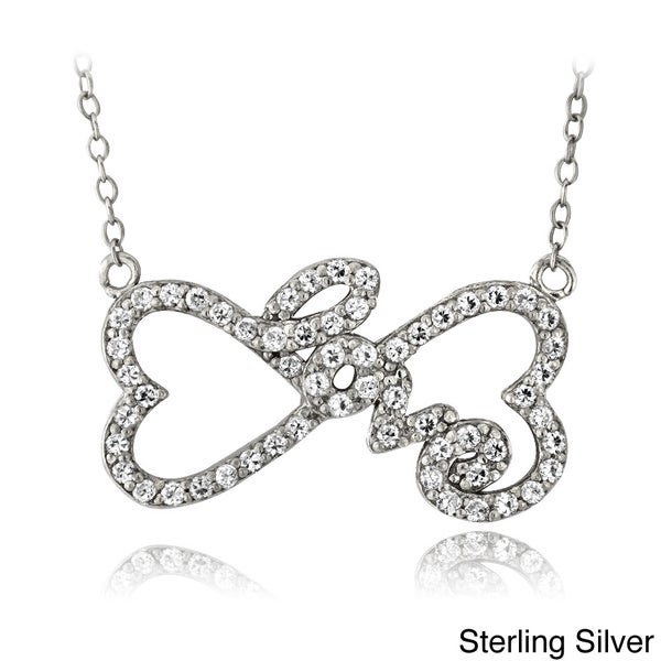 Icz Stonez Sterling Silver Cubic Zirconia Heart Infinity 'Love' Necklace