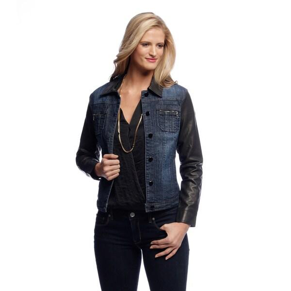 Live a Little Women's Denim Jacket with PU Sleeve