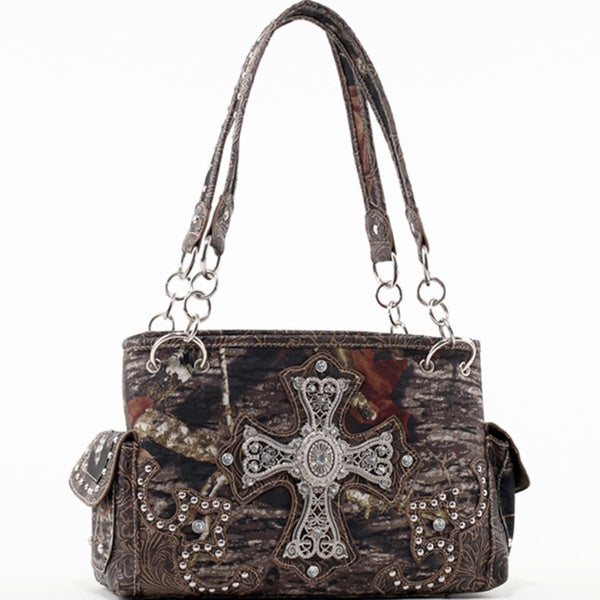 Mossy Oak Rhinestone Cross Studded Camouflage Shoulder Bag