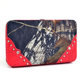 Camouflage/ Red Framed Stud-accent Checkbook Wallet