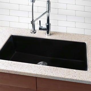 Highpoint Collection Granite Composite 33-inch Single Bowl Black Undermount Kitchen Sink