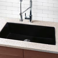 Highpoint Collection Granite Composite 33-inch Single Bowl Black Undermount Kitchen Sink