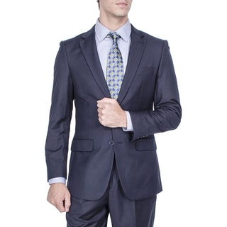Men's Modern Fit Navy Blue 2-button Suit with Pleated Pants