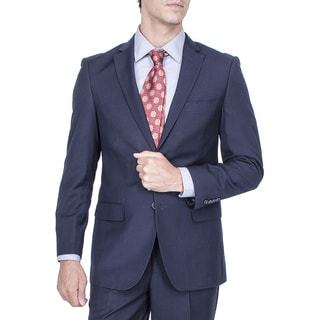 Men's Modern Fit Navy Blue Tonal Stripe 2-button Suit with Pleated Pants