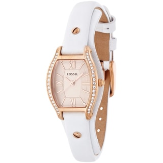 Fossil Women's ES3289 Molly Rose Gold White Leather Watch