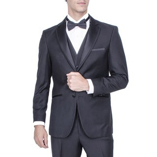 Men's Black Vested Tuxedo with Smart Satin Trim (Option: 42l)