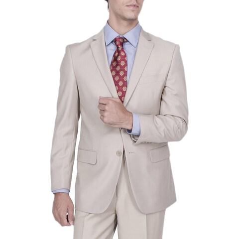 Men's Modern Fit Tan Solid 2-button Suit