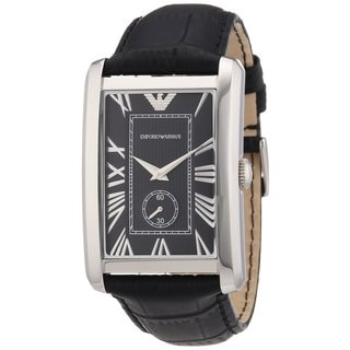 Armani Men's AR1604 Classic Black Leather Rectangular Watch