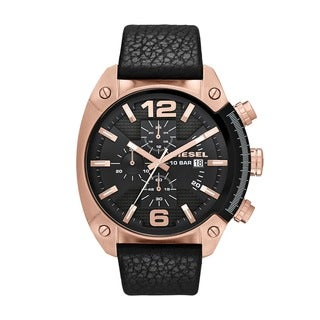 Diesel Men's DZ4297 Overflow Black Leather Strap Watch