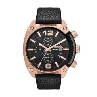 Diesel Men's DZ4297 Overflow Black Leather Strap Watch