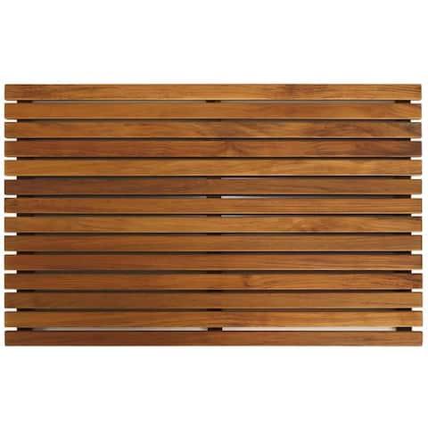 Bare Decor Zen Large Oiled Solid Teak Shower Mat
