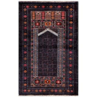 Herat Oriental Semi-antique Afghan Hand-knotted Tribal Balouchi Navy/ Ivory Wool Rug (2'9 x 4'3)