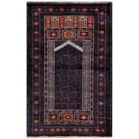 Herat Oriental Afghan Hand-knotted 1960s Semi-antique Tribal Balouchi Wool Rug - 2'9 x 4'3