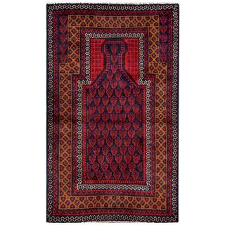 Herat Oriental Afghan Hand-knotted 1960s Semi-antique Tribal Balouchi Red/ Navy Wool Rug (2'10 x 4'8)