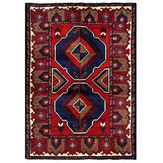 Herat Oriental Semi-antique Afghan Hand-knotted Tribal Balouchi Red/ Navy Wool Rug (2'10 x 4')