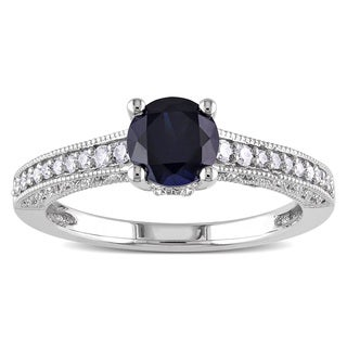 Link to Miadora 10k White Gold Created Blue Sapphire and 1/5ct TDW Diamond Ring (H-I, I2-I3) Similar Items in Rings