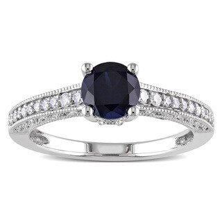 Miadora 10k White Gold Created Blue Sapphire and 1/5ct TDW Diamond Ring (H-I, I2-I3)