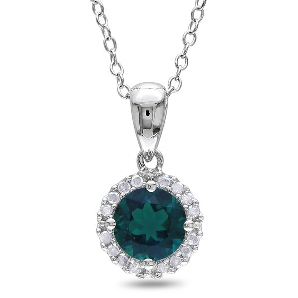 Miadora Sterling Silver Created Emerald and 1/10ct TDW Diamond Halo Necklace (H-I, I2-I3)