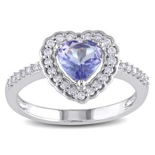 Miadora 10k White Gold Tanzanite and 1/5ct TDW Diamond Heart Ring (G-H, I1-I2)