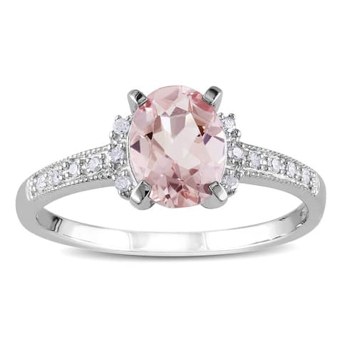 Miadora Sterling Silver 1 1/6ct TGW Morganite and Diamond Accent Cocktail Ring