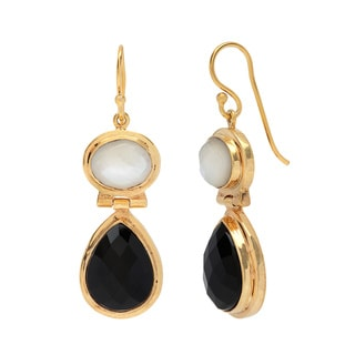 Sitara Goldplated Mother of Pearl and Black Onyx Dangle Earrings (India)