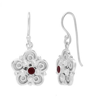 Sitara Silverplated Red Onyx Scroll-work Dangle Earrings (India)