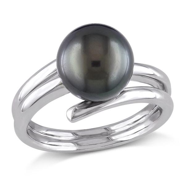 Miadora Sterling Silver Tahitian Pearl Ring (9.5-10 mm)