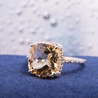 Miadora 10k Yellow Gold Citrine and 1/10ct TDW Diamond Halo Ring (H-I, I2-I3)