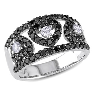 Miadora 14k White Gold 1ct TDW Black and White Diamond Heart Ring