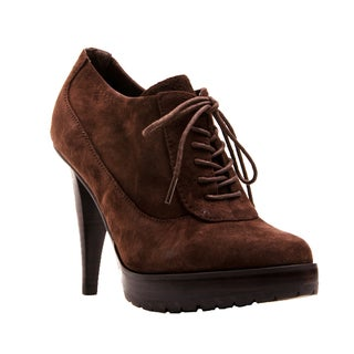 Nvy Women's 'Mary' Brown Suede Lace-up Booties