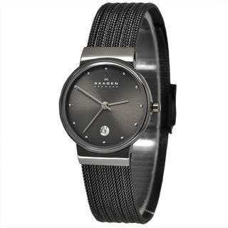 Skagen Women's 355SMM1 Grey Mesh Stainless Steel Watch|https://ak1.ostkcdn.com/images/products/9103212/Skagen-Womens-355SMM1-Grey-Mesh-Stainless-Steel-Watch-P16290434.jpg?impolicy=medium