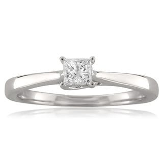 Montebello 18k White Gold 1/4ct TDW Princess-cut Diamond Solitaire Ring