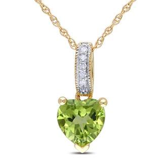 Miadora 10k Yellow Gold Peridot And Diamond Accent Heart Necklace