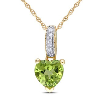 Miadora 10k Yellow Gold Peridot and Diamond Accent Heart Necklace