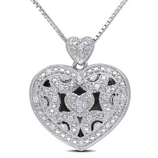 Miadora Sterling Silver 1/10ct TDW Diamond Heart Locket Necklace (H-I, I2-I3)