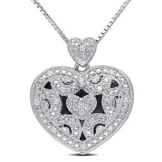 Miadora Sterling Silver 1/10ct TDW Diamond Heart Locket Necklace