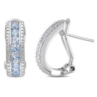Miadora Sterling Silver 2 1/10ct TGW Sky Blue Topaz Earrings