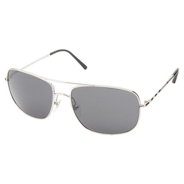 61efc8d6b83 Shop Burberry Men s  BE3077  Silver  Grey Metal Aviator Sunglasses ...