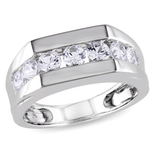 Miadora Sterling Silver Channel-set Created White Sapphire Men's Wedding Band Ring (More options available)