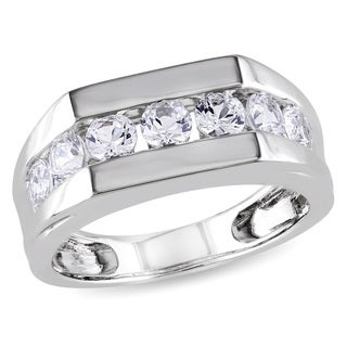 Miadora Sterling Silver Channel-set Created White Sapphire Men's Wedding Band Ring