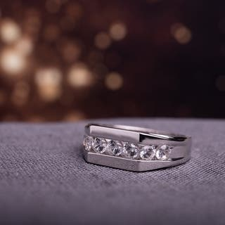 Miadora Sterling Silver Channel-set Created White Sapphire Men's Wedding Band Ring|https://ak1.ostkcdn.com/images/products/9103303/Miadora-Sterling-Silver-Created-White-Sapphire-Mens-Ring-P16290558.jpg?impolicy=medium