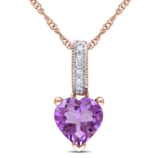 Miadora 10k Rose Gold Amethyst and Diamond Heart Necklace