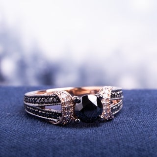 10k Rose Gold with Black Rhodium 1ct TDW Black and White Diamond Split Shank Engagement Ring by Miadora
